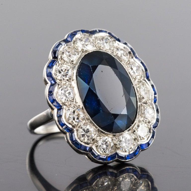 1925s Art Deco 8.40 Carat Sapphire Diamonds Calibrated Sapphires Platinum Ring For Sale 4