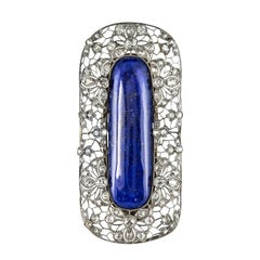 1925s Art Deco Antique Diamond Lapis Lazuli Platinum Brooch