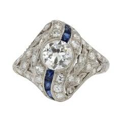 1925s Art Deco Calibrated Sapphire Diamonds Platinum Ring