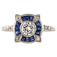 1925s Art Deco Calibrated Sapphires Diamonds Ring