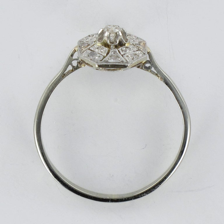 1925 French Art Deco 18 Karat White Gold Platinum Diamond Hexagon Shaped Ring For Sale 6