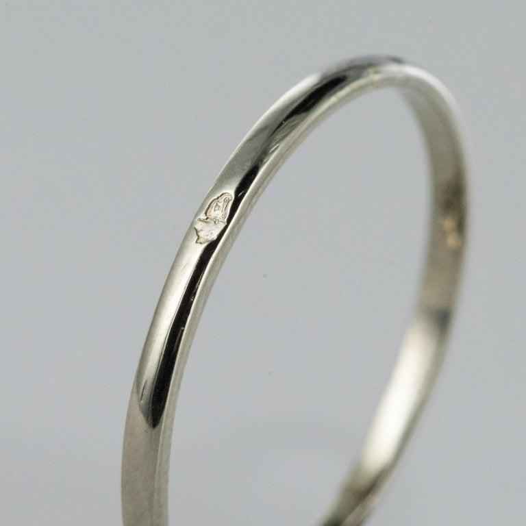 1925 French Art Deco 18 Karat White Gold Platinum Diamond Hexagon Shaped Ring For Sale 7