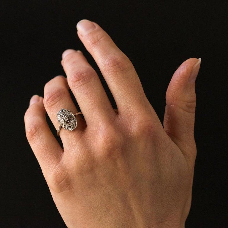 1925 French Art Deco 18 Karat White Gold Platinum Diamond Hexagon Shaped Ring For Sale 2