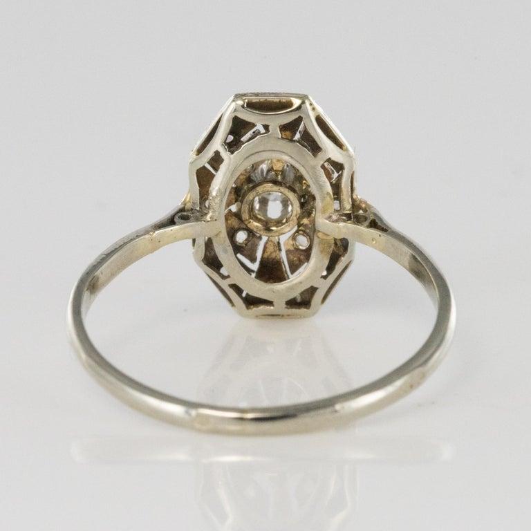 1925 French Art Deco 18 Karat White Gold Platinum Diamond Hexagon Shaped Ring For Sale 3