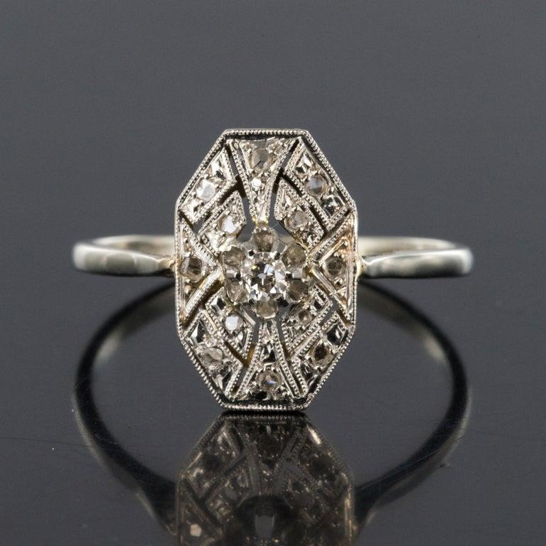 1925 French Art Deco 18 Karat White Gold Platinum Diamond Hexagon Shaped Ring For Sale 4
