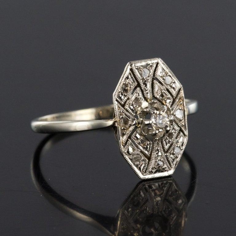 1925 French Art Deco 18 Karat White Gold Platinum Diamond Hexagon Shaped Ring For Sale 5