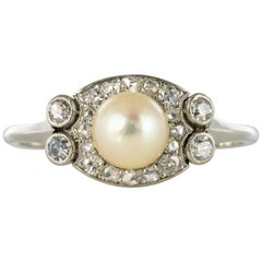 1925s Cultured Pearl Diamonds Platinum Art Deco Ring