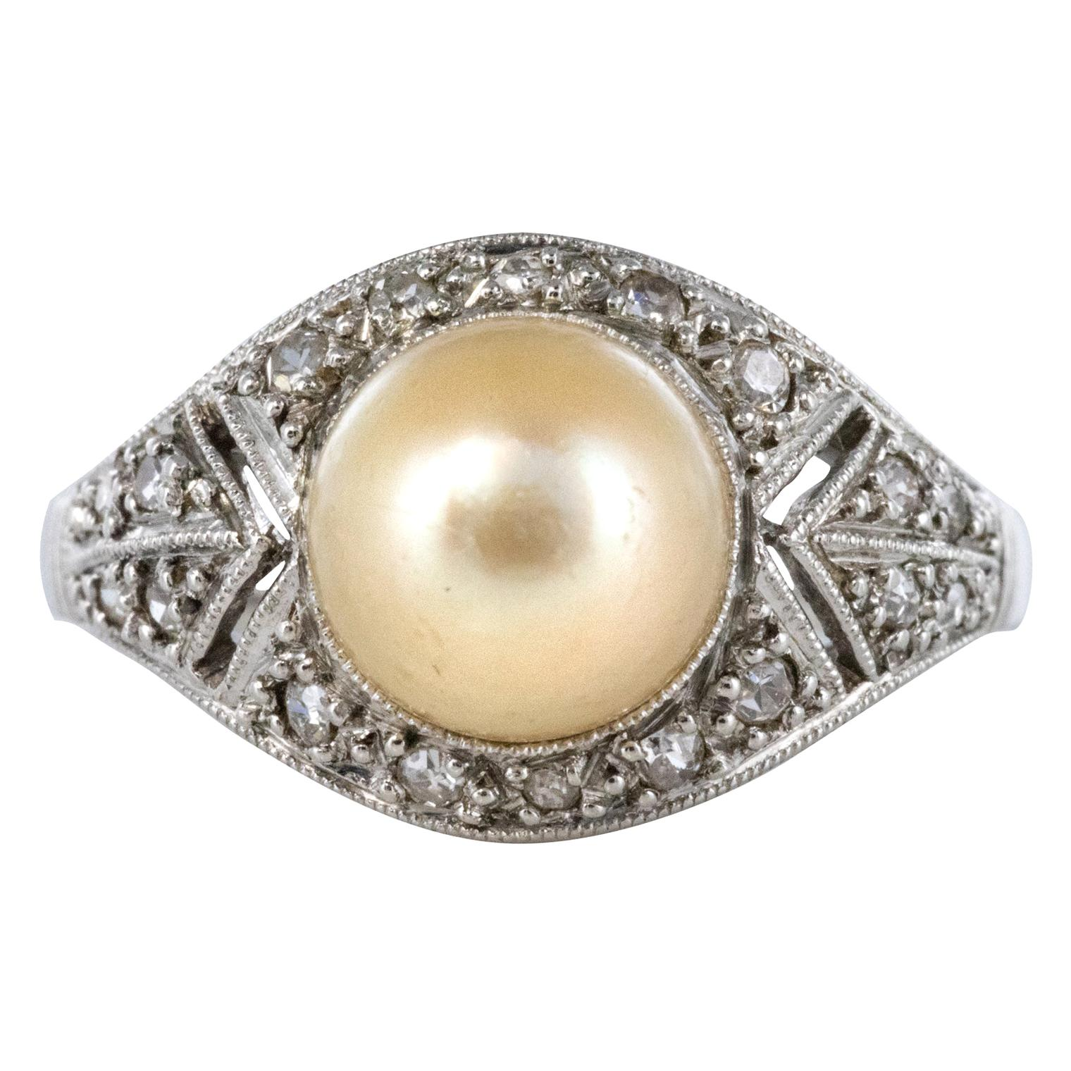 1925s Natural Pearl Diamonds Platinum Art Deco Ring