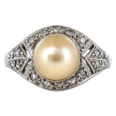 1925s Natural Pearl Diamonds Platinum Art Deco Ring