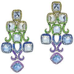 19.26 Carat Burmese Sugarloaf Sapphire Earrings
