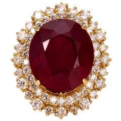 19.26 Carat Impressive Red Ruby and Diamond 14 Karat Yellow Gold Ring