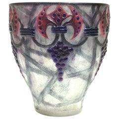 1926 Gabriel Argy-Rousseau Grappes Vase in Pate de Verre Cameo Glass