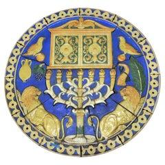 1926 Poly-Chrome Judaic Terracotta Medallion from Phila Synagogue