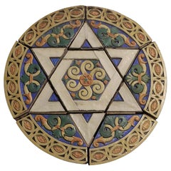1926 Poly-Chrome Judaic Terracotta Star of David Medallion from Phila Synagogue