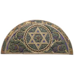 1926 Polychrome Terracotta Arched Frieze with The Star of David from a Synagogue