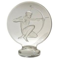 1926 René Lalique Archer Car Mascot Hood Ornament in Glass