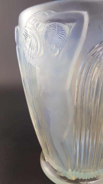 R. Lalique Opalescent Glass Vase Danaides