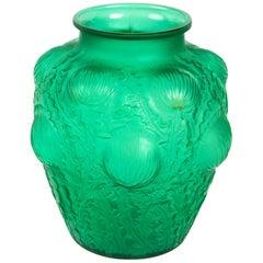 1926 Rene Lalique Domremy Vase in Emerald Green Glass