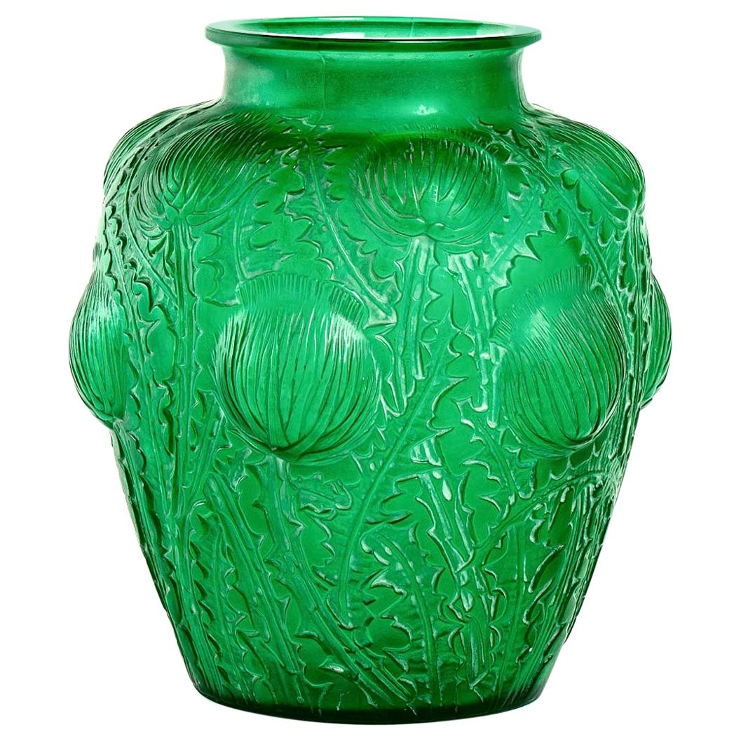 1926 René Lalique Domremy Vase in Emerald Green Glass with White Patina