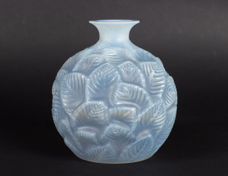 Early 20th Century 1926 René Lalique Ormeaux Vase in Cased Opalescent Glass with Blue Patina