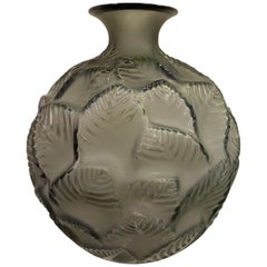 1926 René Lalique Ormeaux Vase in Grey Smoked Glass