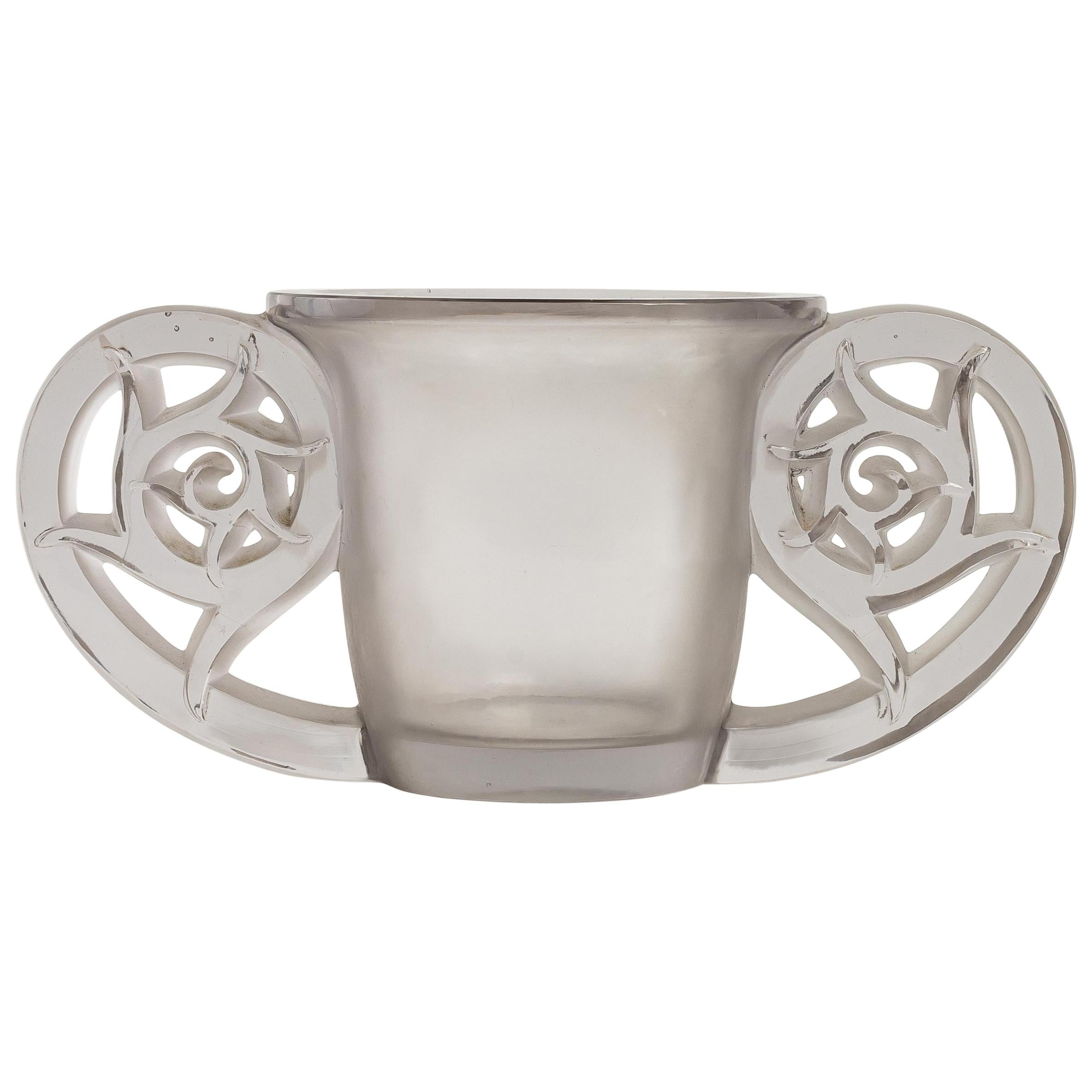 1926 René Lalique Pierrefonds Vase in Clear and Acid Satin Finish Glass