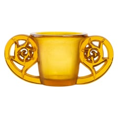 1926 René Lalique Pierrefonds Vase in Yellow Amber and Acid Satin Finish Glass