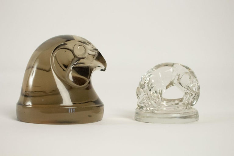 French 1926 René Lalique Renard Seal Clear Glass 'Fox' Figurine For Sale