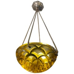 1926 Rene Lalique Rinceaux Complet Ceiling Light Chandelier Yellow Amber Glass