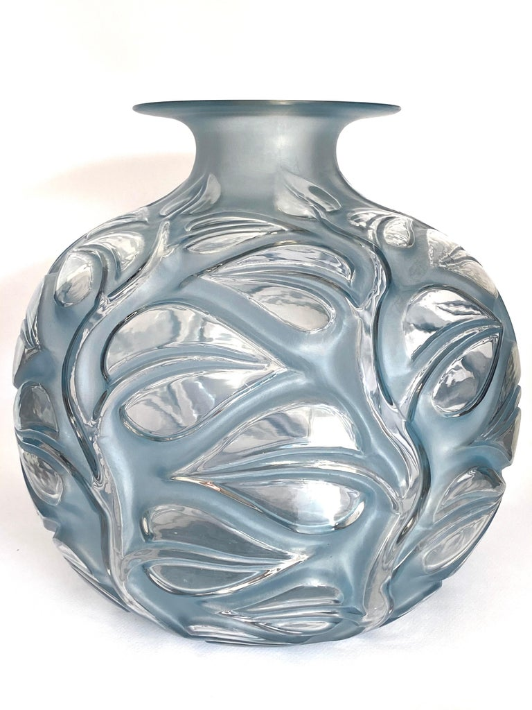 Art Deco 1926 René Lalique Sophora Vase in Clear & Frosted Glass with Blue Patina Leaves