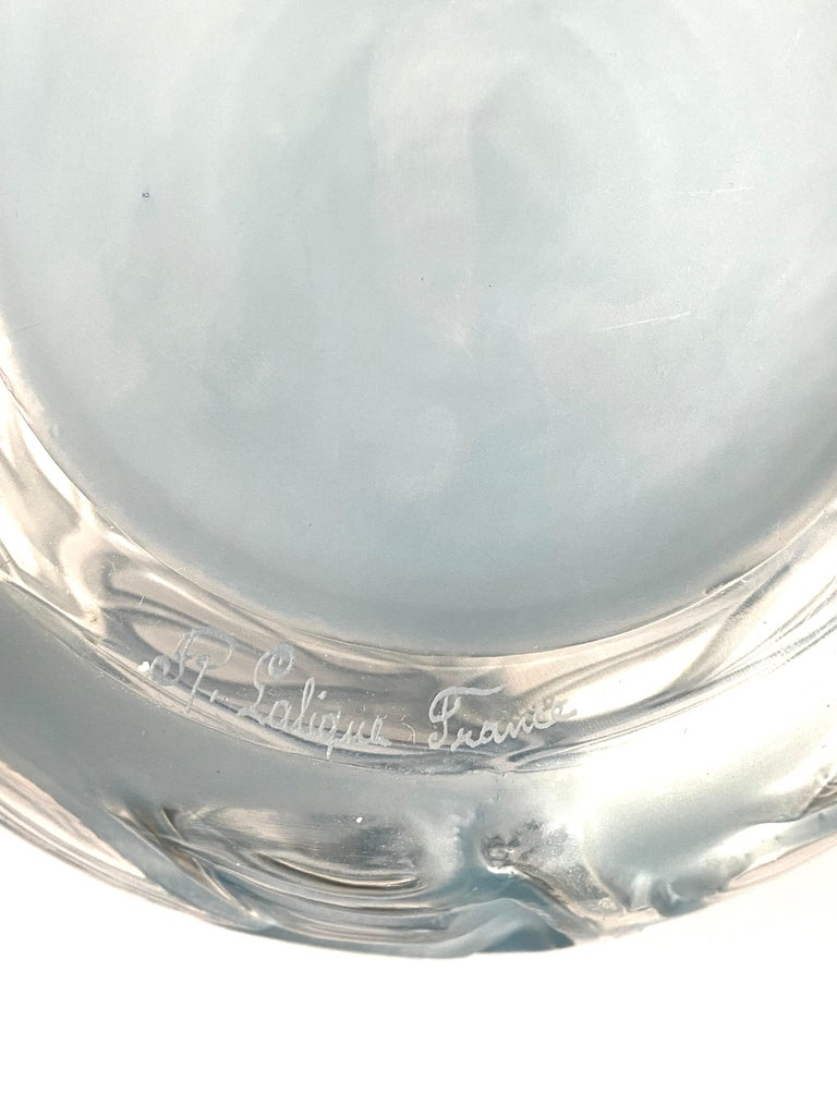 Early 20th Century 1926 René Lalique Sophora Vase in Clear & Frosted Glass with Blue Patina Leaves