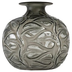 1926 René Lalique Sophora Vase in Grey Glass with Acid White Patina Leaves