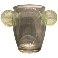 1926 René Lalique Yvelines Vase in Clear Glass and Green Stained Glass