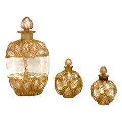 1927-1928 Rene Lalique Set of 3 Jaytho Jay-Thorpe Perfume Bottles Sepia Patina