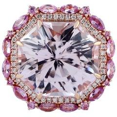 19.27 Carat Kunzite Sapphire Diamond 18 Karat Gold Ring
