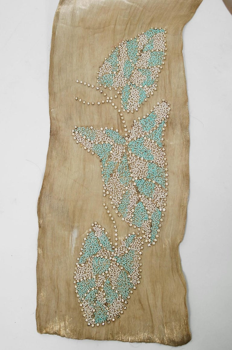 Vintage 1927 French Couture Metallic Gold Lamé Beaded Leaf-Motif Trained Dress For Sale 5
