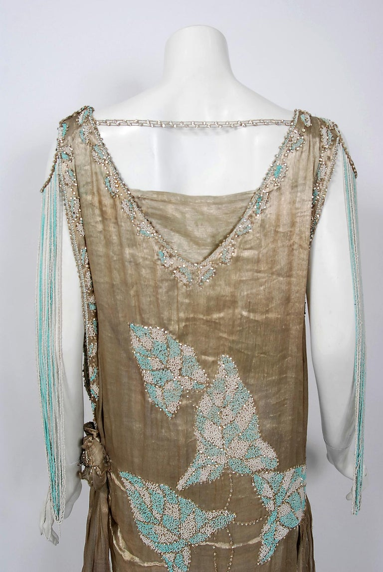 Vintage 1927 French Couture Metallic Gold Lamé Beaded Leaf-Motif Trained Dress For Sale 6
