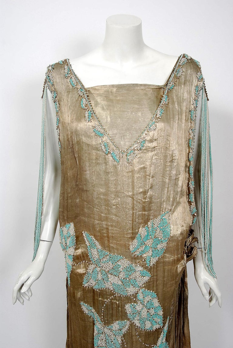 Brown Vintage 1927 French Couture Metallic Gold Lamé Beaded Leaf-Motif Trained Dress For Sale