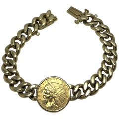 1927 Indian Head Quarter Eagle Coin 14 Karat Curb Link Bracelet