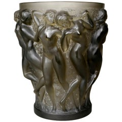 1927 René Lalique Bacchantes Vase in Grey Smoked Glass, Dancing Women
