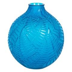 1927 René Lalique Espalion Vase Electric Blue Glass Ferns