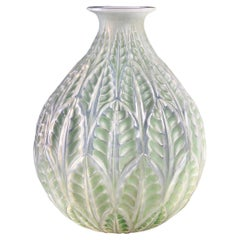 1927 René Lalique Malesherbes Vase in Double Cased Opalescent Glass Green Patina