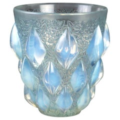 1927 René Lalique Rampillon Vase in Opalescent Glass with Blue-Green Patina