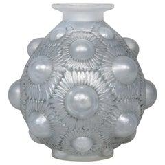 1927 René Lalique Tournesols Vase in Opalescent Glass Grey Patina
