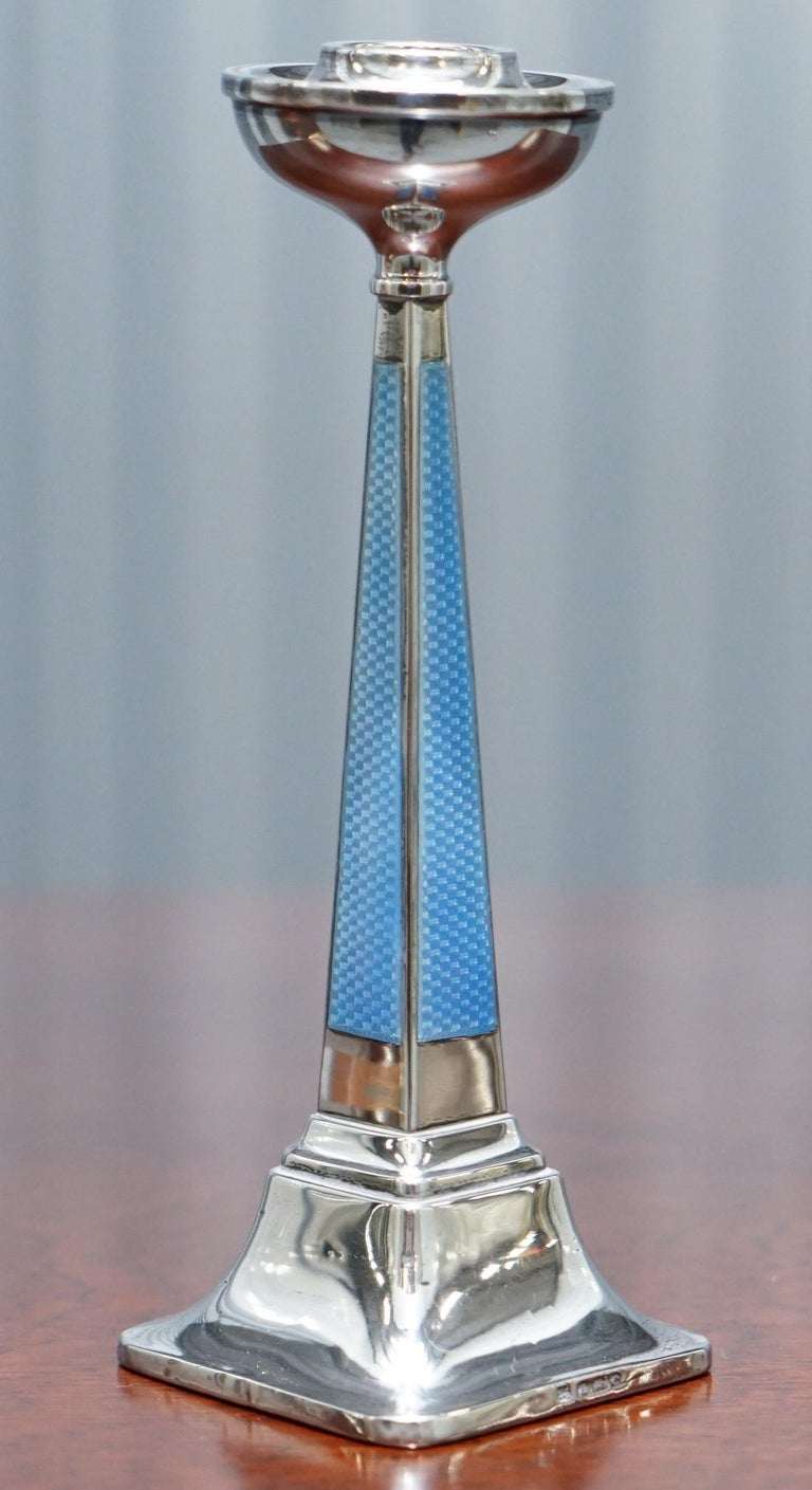 1927 Sterling Silver & Guilloche Enamel Candlesticks Pair by Charles Green & Co For Sale 9