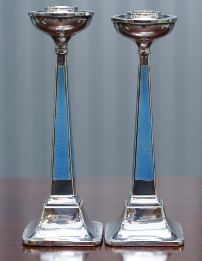 We are delighted to offer for sale this lovely pair of original 1927 Sterling Silver Guilloche Enamel candlesticks by Charles Green & Co  A well made and decorative pair, fully hallmarked 1927, the Birmingham anchor and the sideways facing Lion