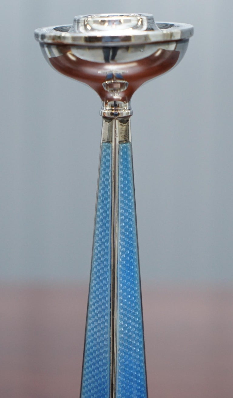 1927 Sterling Silver & Guilloche Enamel Candlesticks Pair by Charles Green & Co For Sale 13
