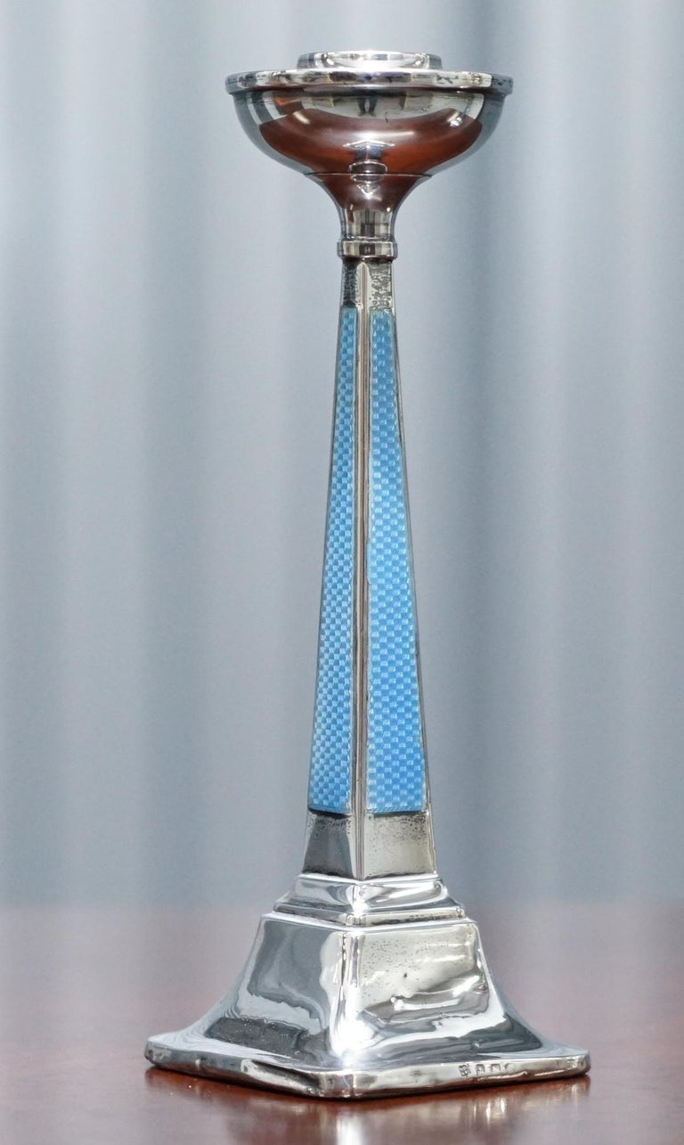 English 1927 Sterling Silver & Guilloche Enamel Candlesticks Pair by Charles Green & Co For Sale