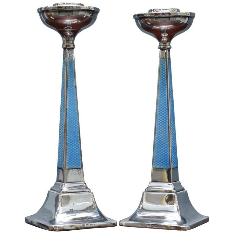 1927 Sterling Silver & Guilloche Enamel Candlesticks Pair by Charles Green & Co For Sale