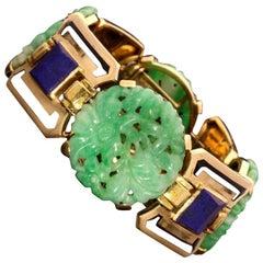 1928 Art Deco Gold, Jade, Lapis Lazuli and Enamel Bracelet, Gerard Sandoz